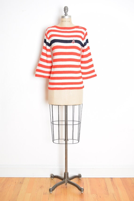 vintage 70s sweater red white striped nautical bel