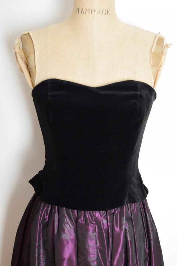 vintage 90s Laura Ashley dress velvet taffeta str… - image 3