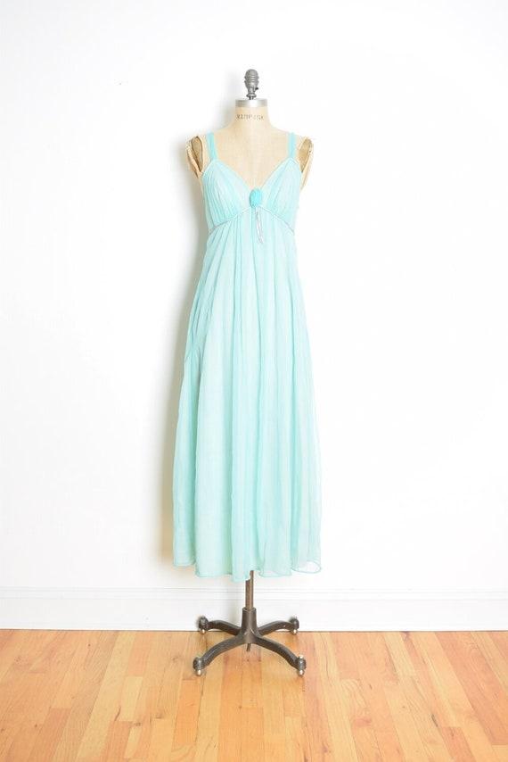 dc1ac7883b1c vintage 60s nightgown turquoise blue chiffon empire nightie