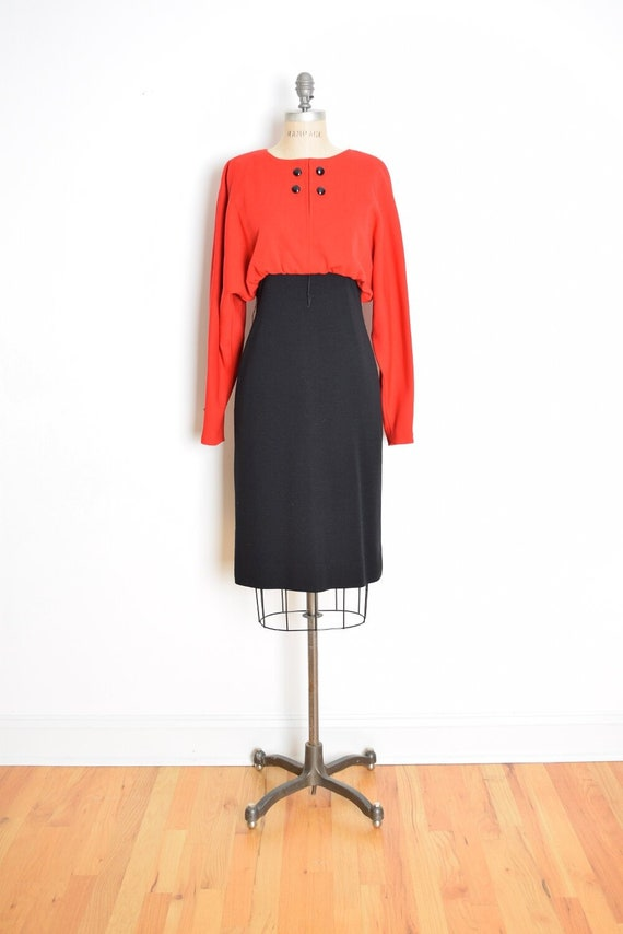 07640e50b48 Vintage 80s dress Bill Blass red black wool jersey draped