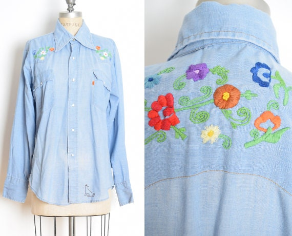 vintage 70s LEVIS shirt embroidered pearl snap ora
