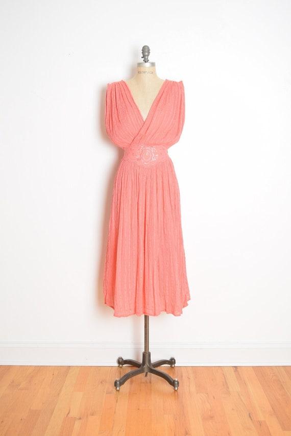 vintage 70s 80s dress grecian gauze goddess peach-