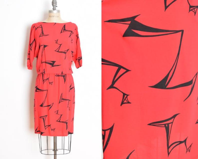 c40cdf8456f Vintage 80s dress red black abstract print draped dolman