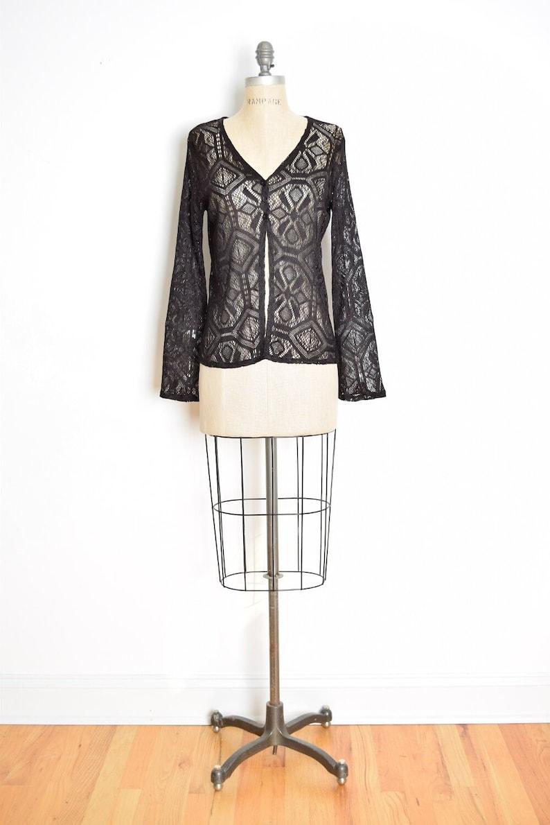 vintage 90s cardigan sheer black crochet bell sleeve goth lace jacket top M medium clothing