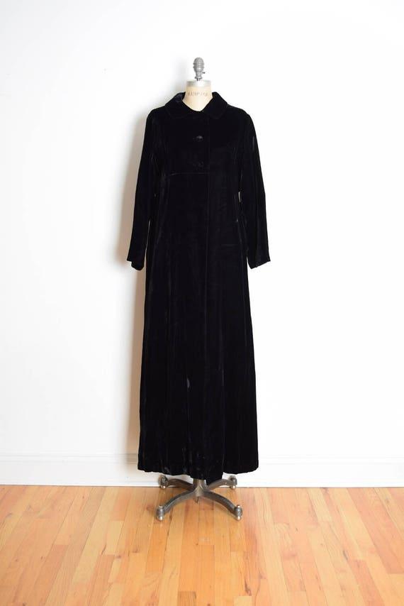vintage 60s coat, black velvet coat, opera coat, l