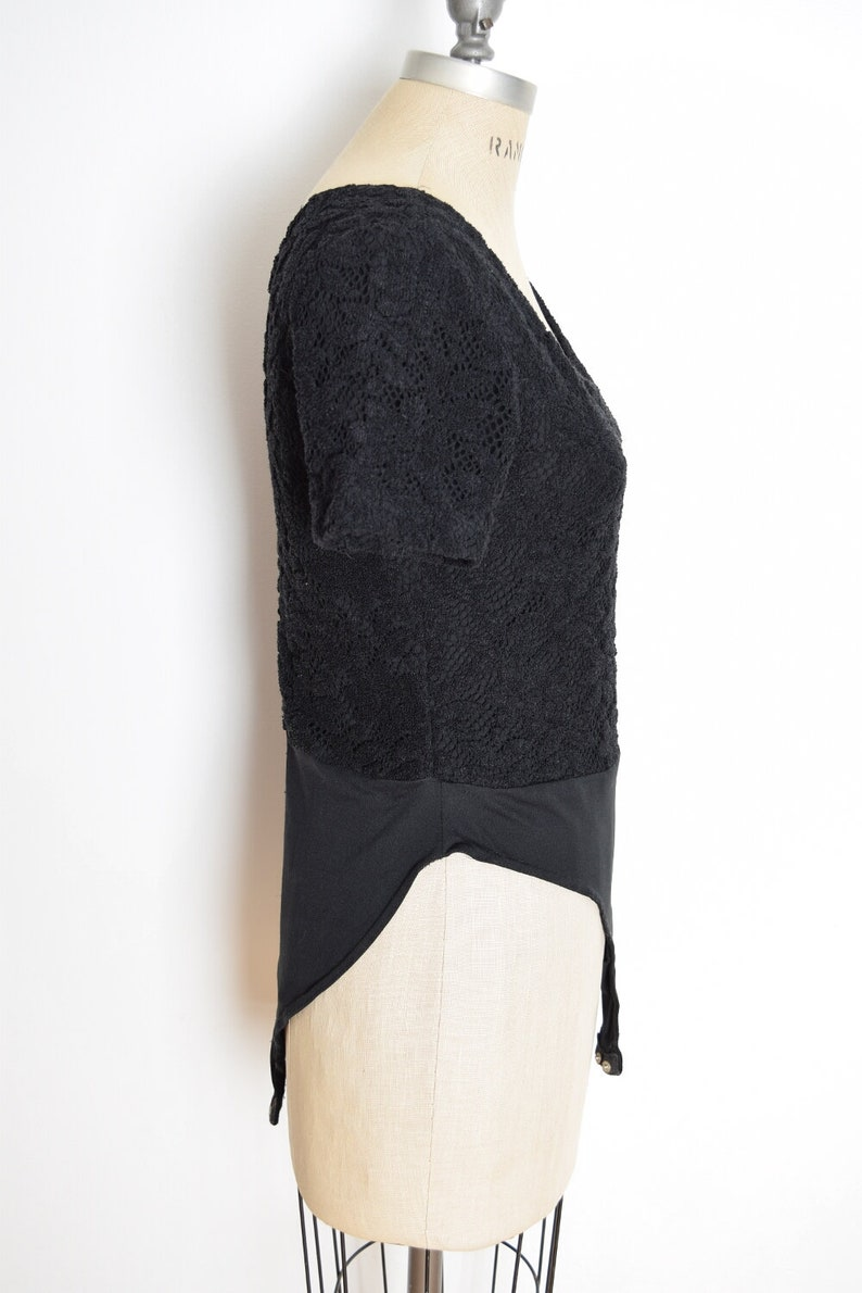 vintage 90s bodysuit top black crochet one piece shirt tee goth M