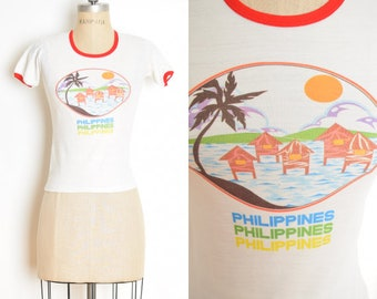 vintage 70s ringer tee white Disney PHILIPPINES tourist baby t shirt top XS clothing fitted