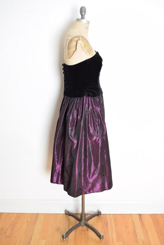 vintage 90s Laura Ashley dress velvet taffeta str… - image 5