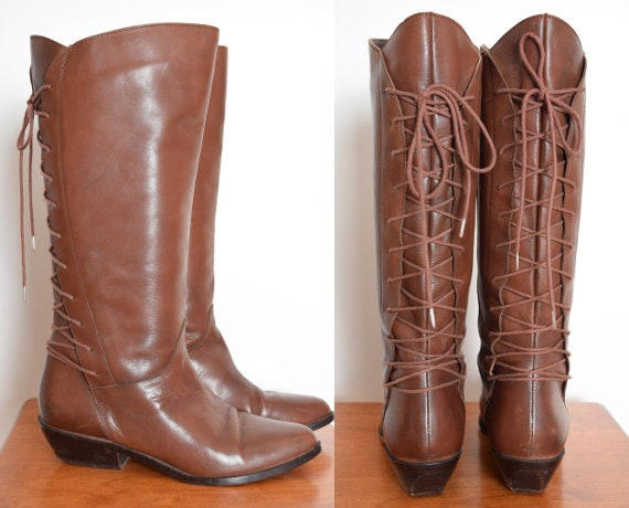 vintage 80s boots brown leather tall lace up flat