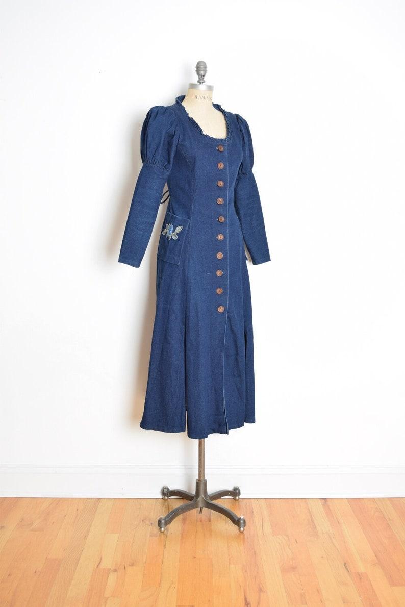092f0335fd Vintage 90s dress dark denim carwash flap fringe puff sleeve