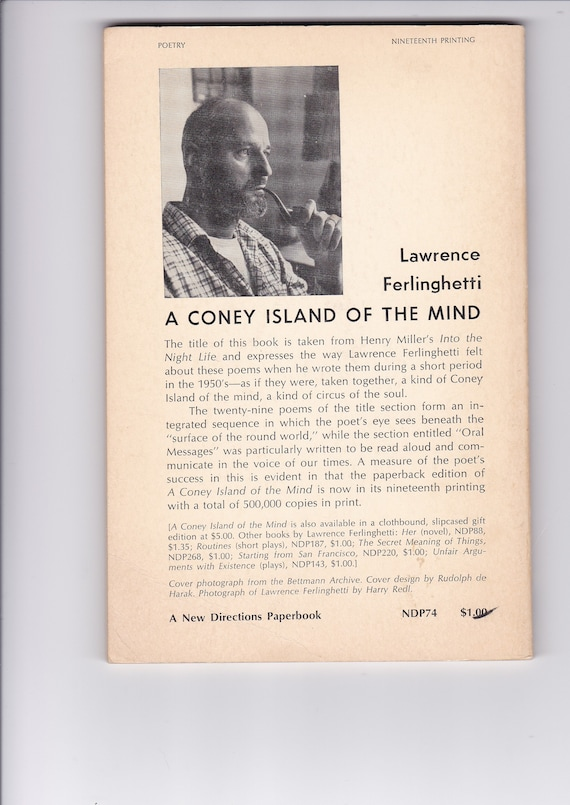 A Coney Island Of The Mind Poems By Lawrence Ferlinghetti 1958 19th Printing Paperback In Very Good Condition Collectors Copy Gift