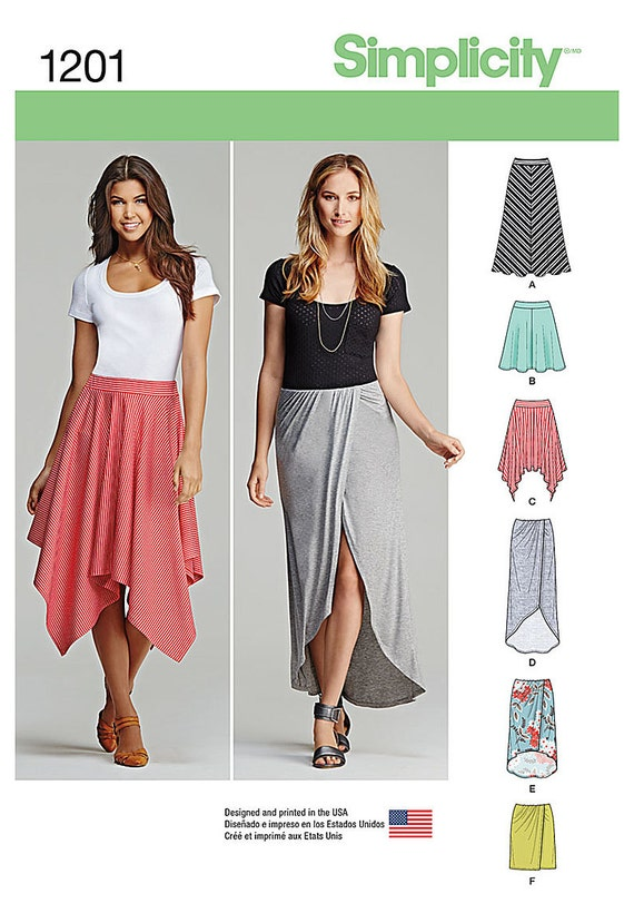Simplicity Sewing Pattern 1201 Misses Pull On Knit Skirts Etsy