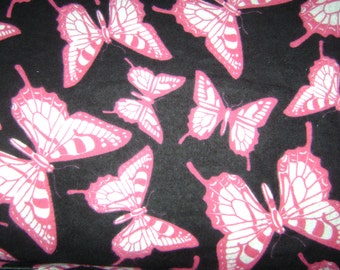 Fabric by the 1/2 Yard - Butterfly Pink on Black Flannel