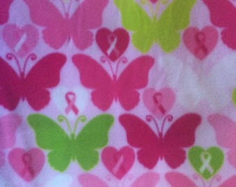 Fabric by the 1/2 Yard -Breast Cancer Butterflies Fleece Fabric