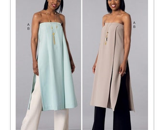 McCall's Sewing Pattern M7443 Misses' Strapless, Pleated Tunic and Wide-Leg Pants