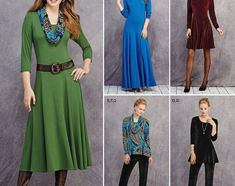 Simplicity Sewing Pattern 1018 Misses' & Petite Size Knit Dresses, Tunics, Pant and Cowl