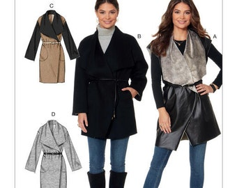 McCall's Sewing Pattern M7480 Misses' Shawl Collar, Wrap Vest and Coats