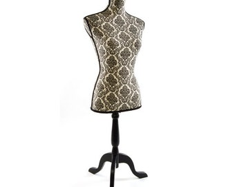 Linen Dress Form Decorative: Black Damask
