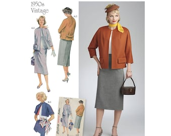 Simplicity Sewing Pattern 8464 Misses' Vintage Skirt and Lined Jacket in Two Lengths