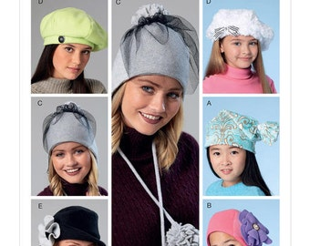 McCall's Sewing Pattern M7519 Misses'/Girls' Beanie, Hat, Berets and Caps