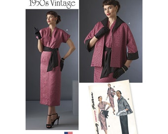 Simplicity Sewing Pattern 8245 Vintage 1950s Dress, Sash, and Lined Jacket