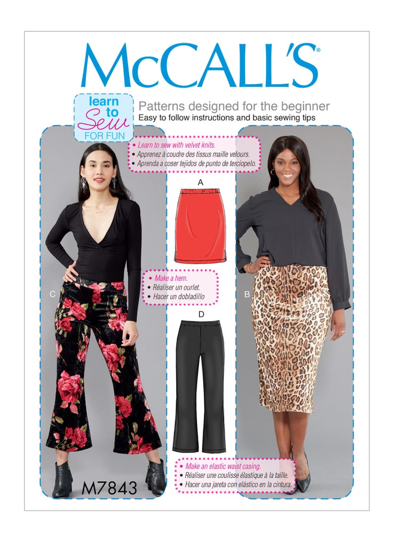And Mccall's Pattern Sewing Skirts Pants M7843 Misses'women's eDIHYE2W9