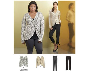 Simplicity Sewing Pattern 8465 Misses' Knit Twist Tops with Pants