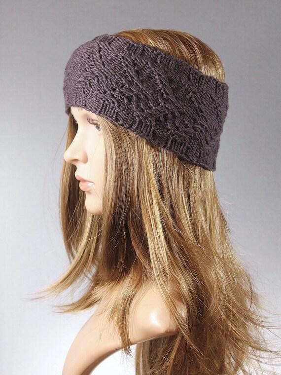 Wool knit Head band Winter head wrap brown knit headband  64b4b941421