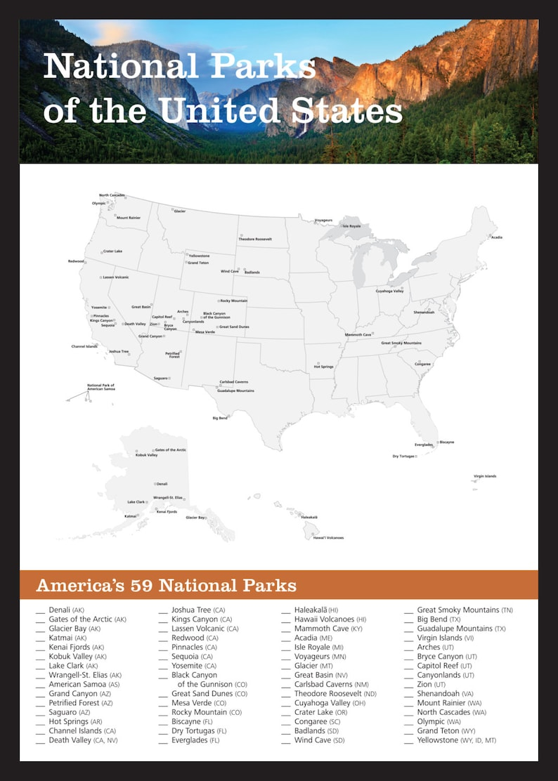 National Parks Wall Art Checklist Suitable For Framing - Yosemite - on map of california, map of smokey mountains national park, map of casey county, map of ione, map of oc beaches, map of willows, map of grand canyon, map of eldorado canyon, map of united states, map of national parks in oregon, map of burney falls, map of taft point, map of zephyr, map of big thicket, map of muir trail, map of national parks of america, map of slot canyons, map of crest, map of devil's postpile, map of bx,