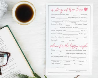 Printable Funny Mad Libs for a Wedding, Couple's Shower, Bridal Shower & Bachelorette party // Digital File // 8.5x11 // Instant Download