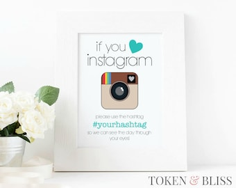 Printable Instagram sign for Engagement parties, Weddings or Showers // Editable PowerPoint Template // 4x6, 5x7, 8x10 // Instant Download