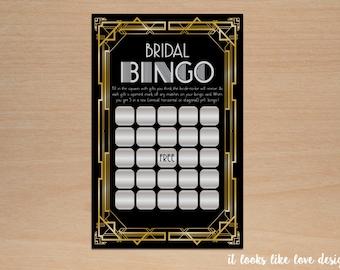 Printable Wedding Shower Game // Bridal Bingo // Art Deco // Great Gatsby Inspired // Digital File // 8.5x11 // Instant Download