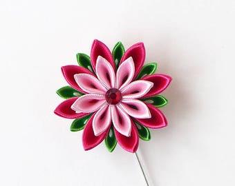 Men's Flower Lapel Pin. Kanzashi fabric flower brooch. Kanzashi flower lapel pin. Boutonniere lapel pin. Handmade Wedding Boutonniere. Pink