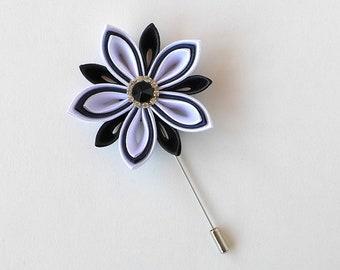 Men's Flower Lapel Pin Black White Kanzashi flower brooch. Kanzashi floral lapel pin. Boutonniere lapel pin. Handmade Wedding Boutonniere.