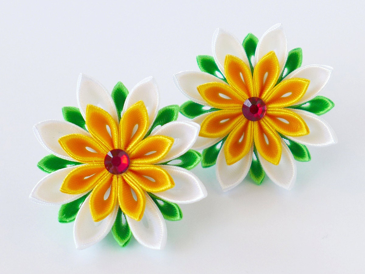 Kids Toddler Daisy Flowers Hair Bows Set Of 2 Ponytail Etsy