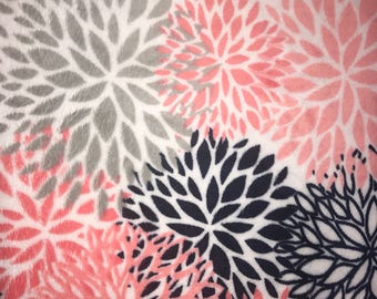 Coral, navy, gray, white floral print minky