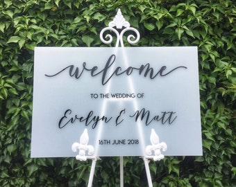 Acrylic Welcome Sign, A5 A4 A3 A2 A1 A0 Wedding Sign, Wedding Decor, Bespoke Acrylic Sign, Personalised Welcome Sign, Gold Welcome Sign