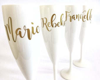 Set of 6 Champagne Flutes with Gold names, Prosecco Glass, Bridesmaid Gifts, Bride, Wedding, Bridesmaid, Hen Party, Rose Gold, Flutes