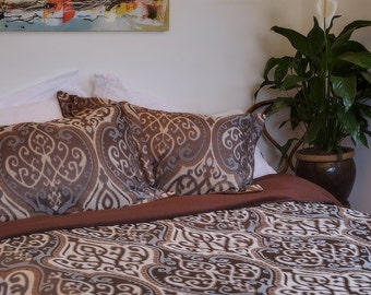 Luxurious Hollywood Regency Handmade Silk Bedspread with Cashmere lining