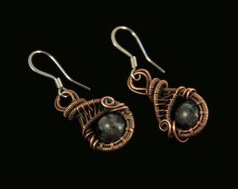 Antique Copper Woven Wire Earrings