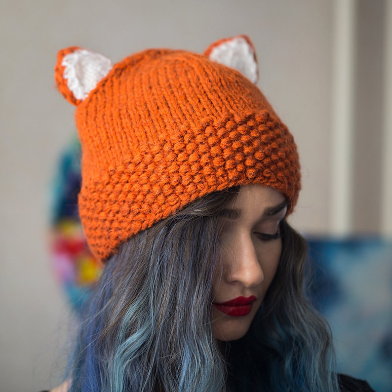 Hat with ears wholesales cat ears cap Knitted fox hat pussycat hat animal winter beanie Christmas gift red fox beanie ladies hat