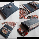 Upcycled Jean tobacco ' and dot fabrics.