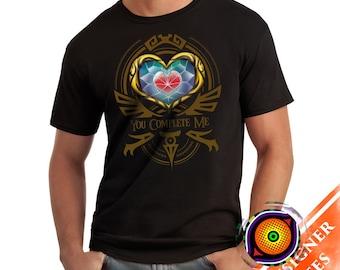 You Complete Me - Hyrule Zelda Valentine T-Shirt Legend of Zelda Heart Piece Video Game Shirt