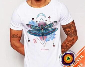 Dragonfly- Rhyothemis T-Shirt Geometric Tattoo Artsy Original Jewel Insect Ornate Shirt