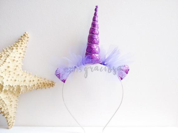 Mermaid Unicorn Headband - Purple Unicorn Headband - Purple Unicorn Horn 3201ac1d247