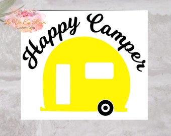 Happy Camper Decal, Camper Decal, Yeti Cup, Rtic Cup, Tumbler, Yeti Cup Decal. Free Shipping.