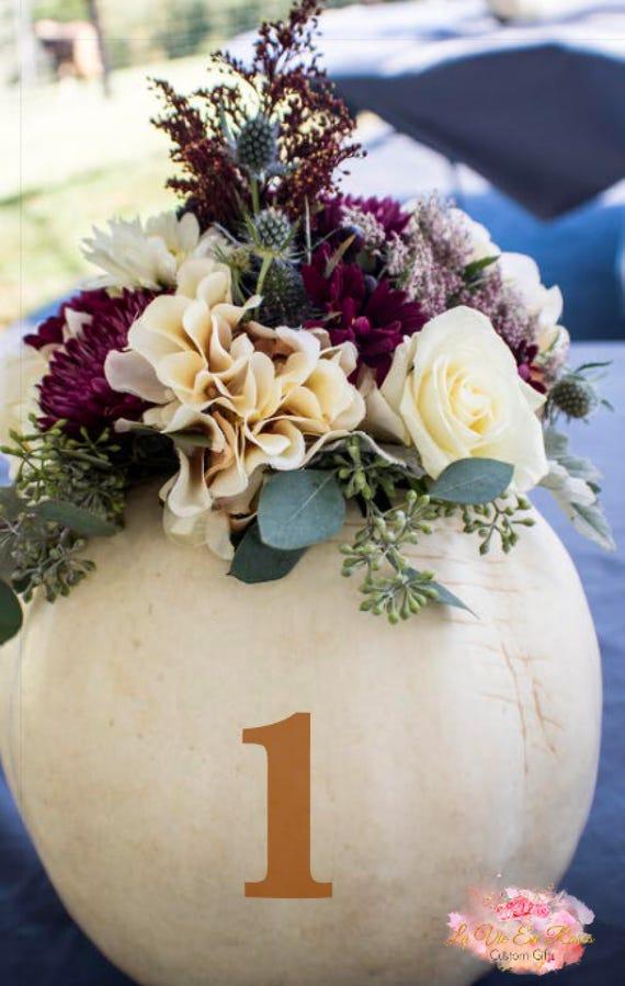 Wedding Centerpiece Pumpkin Decal Table Number Fall Wedding Etsy