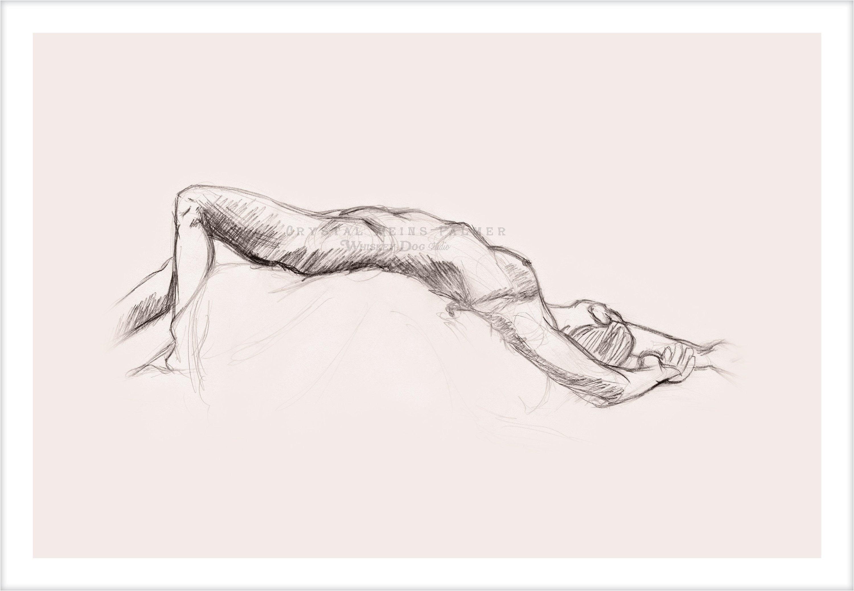 Oglje s svinčnikom risanje golih žensk, ki se soočajo-8400