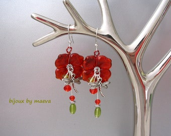 red fantasy jewelry red glass flower beads and silver metal dragonfly Red and green dangle earrings