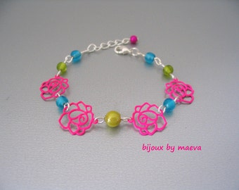 Child Jewelry / teen fancy bracelet fuchsia pink flowers and green turquoise beads